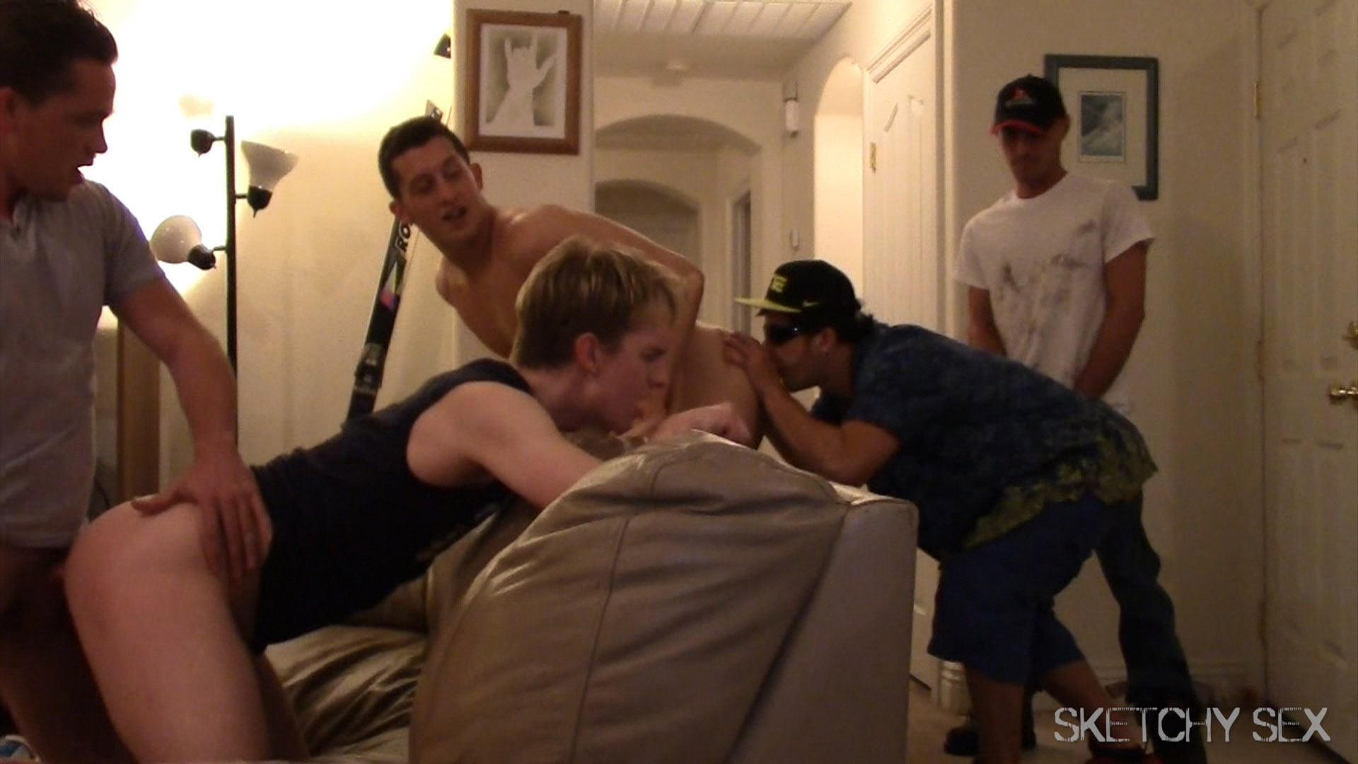 Huge gay gangbang sucking party